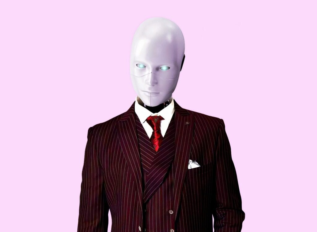 man in red and black pinstripe suit jacket