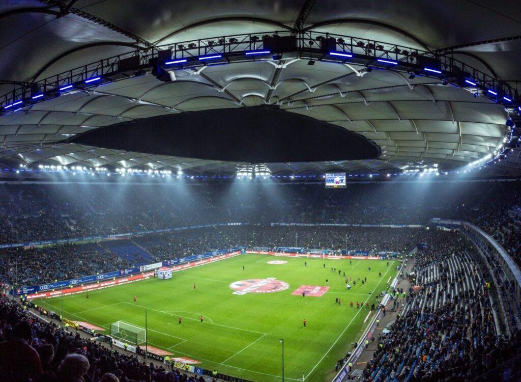 high angel photography of football stadium