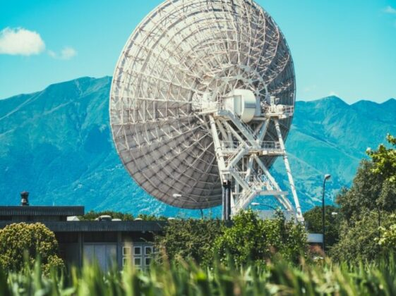 photo of gray metal tower satellite