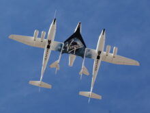 640px White Knight Two And Spaceshiptwo From Directly Below