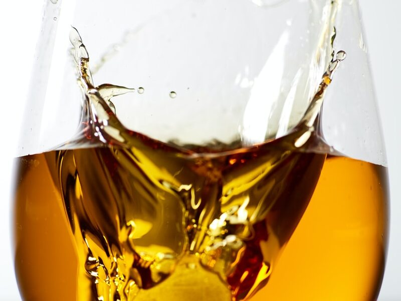 liquor filled clear stemless glass