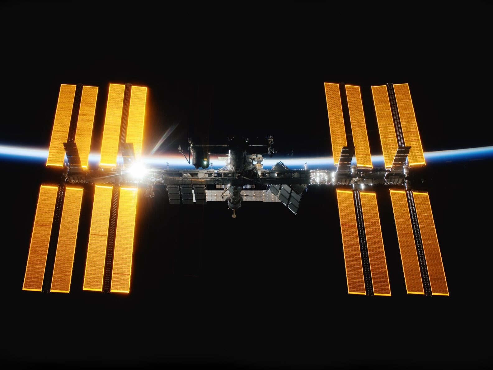 International Space Station orbits earth