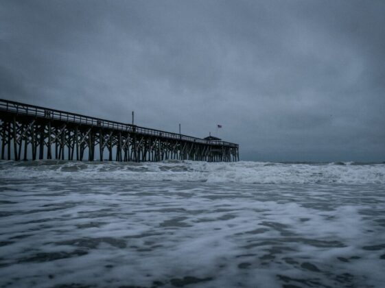 brown wooden dock on sea under white clouds