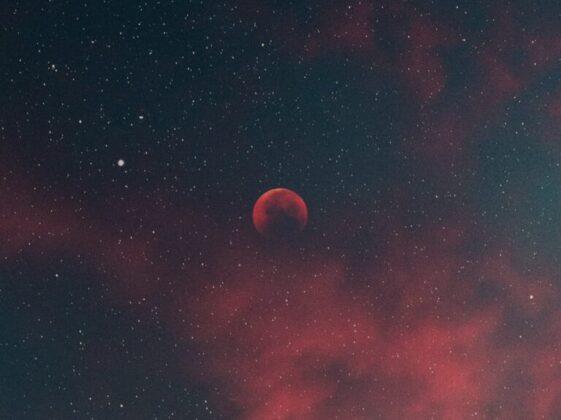 red moon in the sky